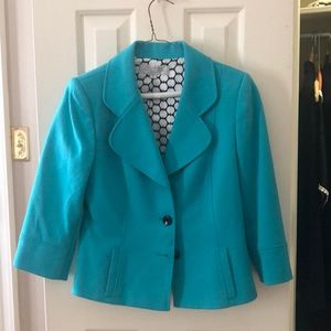 Tahari turquoise blazer with buttons